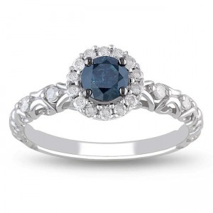 White Gold 1/2ct TDW Blue and White Diamond Halo Ring - Custom Made By Yaffie™
