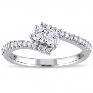 White Gold 1/2ct TDW Diamond 2-Stone Bypass Engagement Ring - Custom Made By Yaffie™