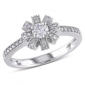 White Gold 1/2ct TDW Diamond Engagement Ring - Custom Made By Yaffie™