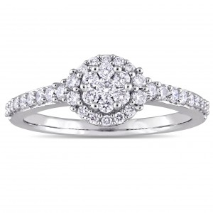 White Gold 1/2ct TDW Diamond Floral Cluster Halo Engagement Ring - Custom Made By Yaffie™