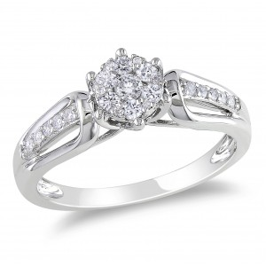White Gold 1/3ct TDW Diamond Cluster Ring - Custom Made By Yaffie™