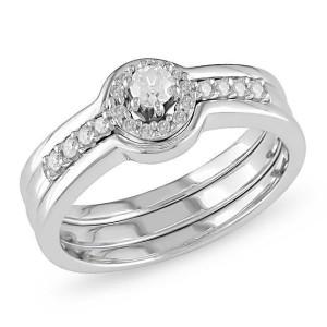 White Gold 1/4ct TDW Diamond Bridal Ring Set - Custom Made By Yaffie™