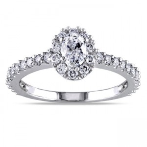 White Gold 1ct TDW Certified Oval Halo Diamond Engagement Ring - Custom Made By Yaffie™