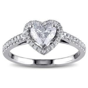 White Gold 1ct TDW Diamond Heart Ring - Custom Made By Yaffie™