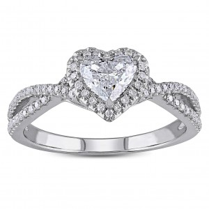 White Gold 1ct TDW Heart-cut Diamond Split Shank Halo Engagement Ring - Custom Made By Yaffie™