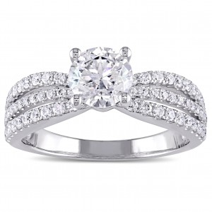 White Gold 2ct TDW Multi-row Diamond Engagement Ring - Custom Made By Yaffie™