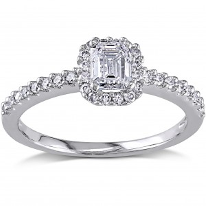 White Gold 3/4ct TDW Emerald-cut Diamond Ring - Custom Made By Yaffie™