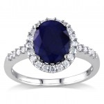 White Gold Oval Diffused Sapphire and 2/5ct TDW Diamond Halo Ring - Custom Made By Yaffie™