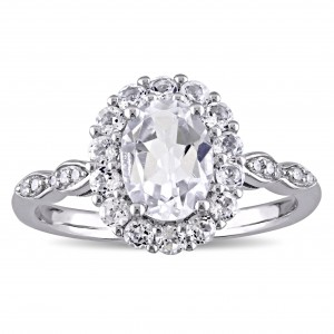 White Gold Oval-cut White Topaz and Diamond Accent Halo Engagement Ring - Custom Made By Yaffie™