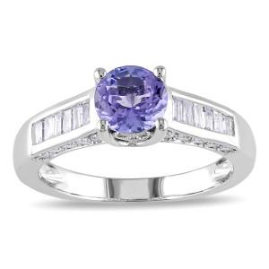 White Gold Tanzanite and 1/2ct TDW Diamond Ring - Custom Made By Yaffie™