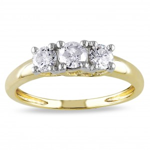 Gold 1/2ct TDW Diamond 3-Stone Ring - Custom Made By Yaffie™