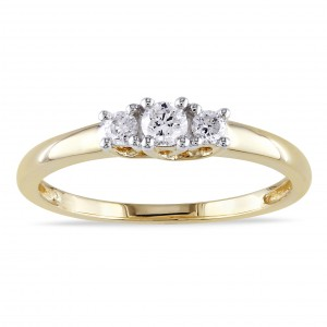 Gold 1/4ct TDW Certified Diamond 3-stone Promise Ring - Custom Made By Yaffie™