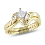 Gold 1/4ct TDW Diamond Bridal Set - Custom Made By Yaffie™