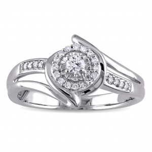1/5ct TDW Diamond Halo Bypass Ring in Sterling Silver - Custom Made By Yaffie™
