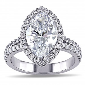 White Gold 3 3/4ct TDW Marquise Diamond Halo Engagement Ring - Custom Made By Yaffie™