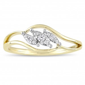 2-Tone White and Gold Diamond Triple Marquise-Cut Floating Center Engagement Ring - Custom Made By Yaffie™