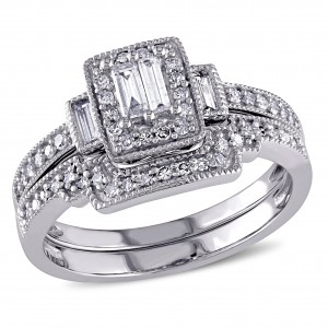 2/5ct TDW Parallel Baguette and Round-Cut Diamond Square Vintage Bridal Set in White Gold - Custom Made By Yaffie™