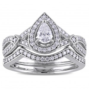 5/8 CT TDW Pear and Round-Cut Diamond Vintage infinity Bridal Ring Set in White Gold - Custom Made By Yaffie™