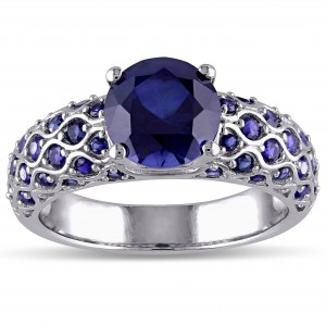 Created Blue Sapphire Engagement Ring in White Gold - Custom Made By Yaffie™