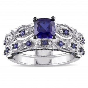 Created Sapphire and 1/10ct TDW Diamond Bridal Set in White Gold - Custom Made By Yaffie™