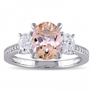 Morganite and 5/8ct TDW Oval and Round-Cut Diamond 3-Stone Engagement Ring in White Gold - Custom Made By Yaffie™