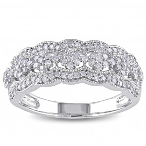 Signature White Gold 1/2ct TDW Diamond Vintage Floral Anniversary Band - Custom Made By Yaffie™