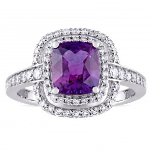 Signature White Gold Cushion-Cut Violet Sapphire and 1/2ct TDW Double Halo Engagement Ring - Custom Made By Yaffie™
