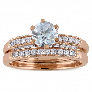 Signature Collection Rose Gold 1/3ct TDW Diamond and Aquamarine Bridal Ring Set - Custom Made By Yaffie™