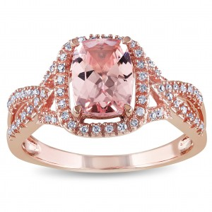 Signature Collection Rose Gold Cushion-Cut Morganite and 1/6ct TDW Diamond Crossover Engagement Ring - Custom Made By Yaffie™