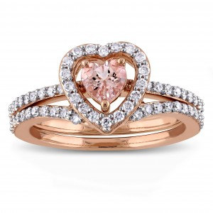 Signature Collection Rose Gold Morganite and 1/2ct TDW Diamond 2-Piece Bridal Ring Set - Custom Made By Yaffie™