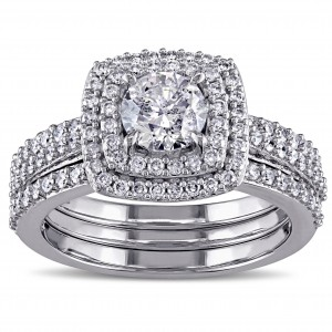 Signature Collection White Gold 1 1/2ct TDW Diamond Halo Bridal Ring Set - Custom Made By Yaffie™