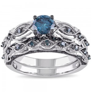 Signature Collection White Gold 1ct TDW Blue Diamond Bridal Ring Set - Custom Made By Yaffie™