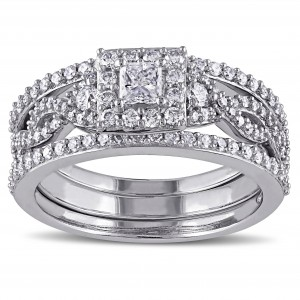 Signature Collection White Gold 1ct TDW Princess Diamond Bridal Ring Set - Custom Made By Yaffie™