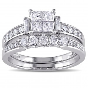 Signature Collection White Gold 1ct TDW Princess-cut Diamond Bridal Ring Set - Custom Made By Yaffie™