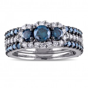 Signature Collection White Gold 2ct TDW Blue and White Diamond 3-stone Bridal Ring Set - Custom Made By Yaffie™