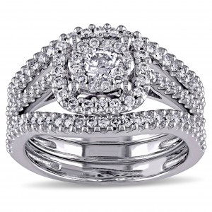 Signature Collection White Gold 3/4ct TDW Diamond Bridal Ring Set - Custom Made By Yaffie™