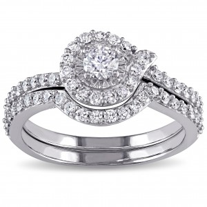 Signature Collection White Gold 3/4ct TDW Swirl Diamond Promise Bridal Ring Set - Custom Made By Yaffie™