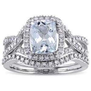 Signature Collection White Gold Aquamarine 1/4ct TDW Diamond Bridal Set - Custom Made By Yaffie™