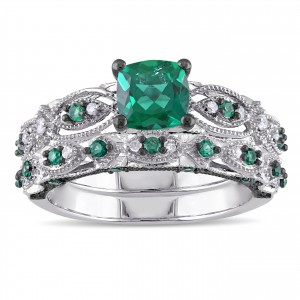 Signature Collection White Gold Created Emerald and 1/10ct TDW Diamond Bridal Ring Set - Custom Made By Yaffie™