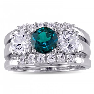 Signature Collection White Gold Created Sapphire and Created Emerald 3-Stone 3-Piece Bri - Custom Made By Yaffie™