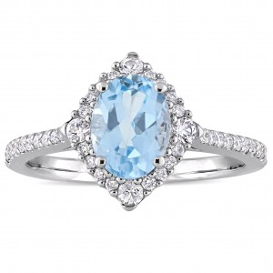 Signature Collection White Gold Sky-Blue Topaz White Sapphire 1/4ct TDW Diamond Engagement Ring - Custom Made By Yaffie™