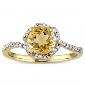 Signature Collection Gold Citrine and 1/10ct TDW Diamond Flower Halo Engagement Ring - Custom Made By Yaffie™