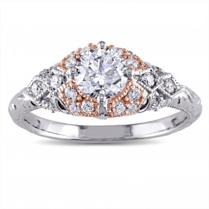 Signature Collection 2-tone White and Rose Gold 1ct TDW Diamond Vintage Engagement Ring - Custom Made By Yaffie™