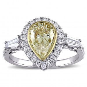 Signature Collection 2-tone White and Gold 2ct TDW Pear-cut Yellow Diamond Engagement Ring - Custom Made By Yaffie™