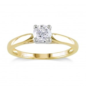 Signature Collection 2-tone Yellow and White Gold 1/2ct TDW Diamond Solitaire Engagement Ring - Custom Made By Yaffie™