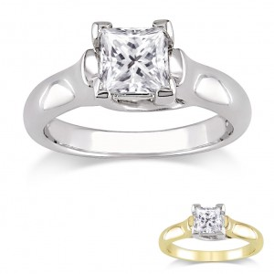 Signature Collection Gold 1ct TDW Certified Princess-cut Diamond Solitaire Ring - Custom Made By Yaffie™