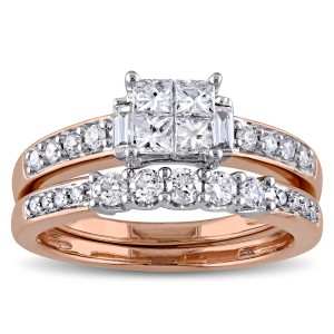 Signature Collection Rose Gold 1ct TDW Diamond Bridal Ring Set - Custom Made By Yaffie™