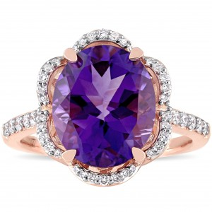 Signature Collection Rose Gold Oval-Cut African-Amethyst and 1/2ct TDW Diamond Floral Halo Engagement Ring - Custom Made By Yaffie™