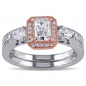Signature Collection Two-tone Gold 1 1/3ct TDW Radiant-cut Diamond Halo Bridal Ring Set - Custom Made By Yaffie™