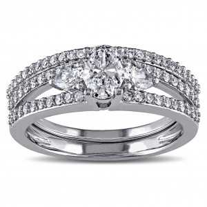 Signature Collection White Gold 1 1/10ct TDW Certified Diamond Bridal Ring Set - Custom Made By Yaffie™